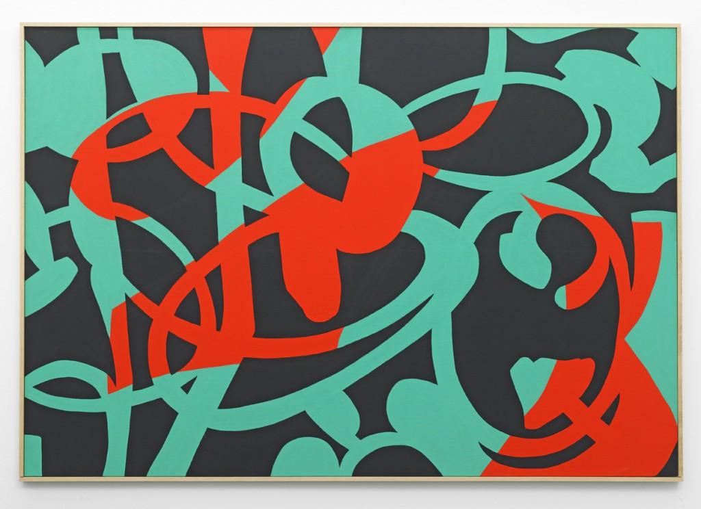 Carla Accardi, »Contrappunto musicale«, 2012. Gouache on canvas, 112 x 162 x 3 cm. Unique.