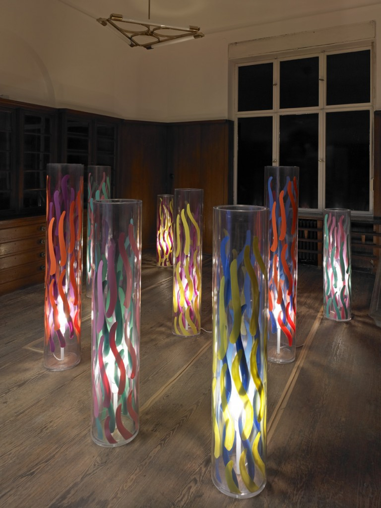 Carla Accardi, »Lampade«, 2010. Plexiglass and paint on plastic, dimensions variable. Unique.
