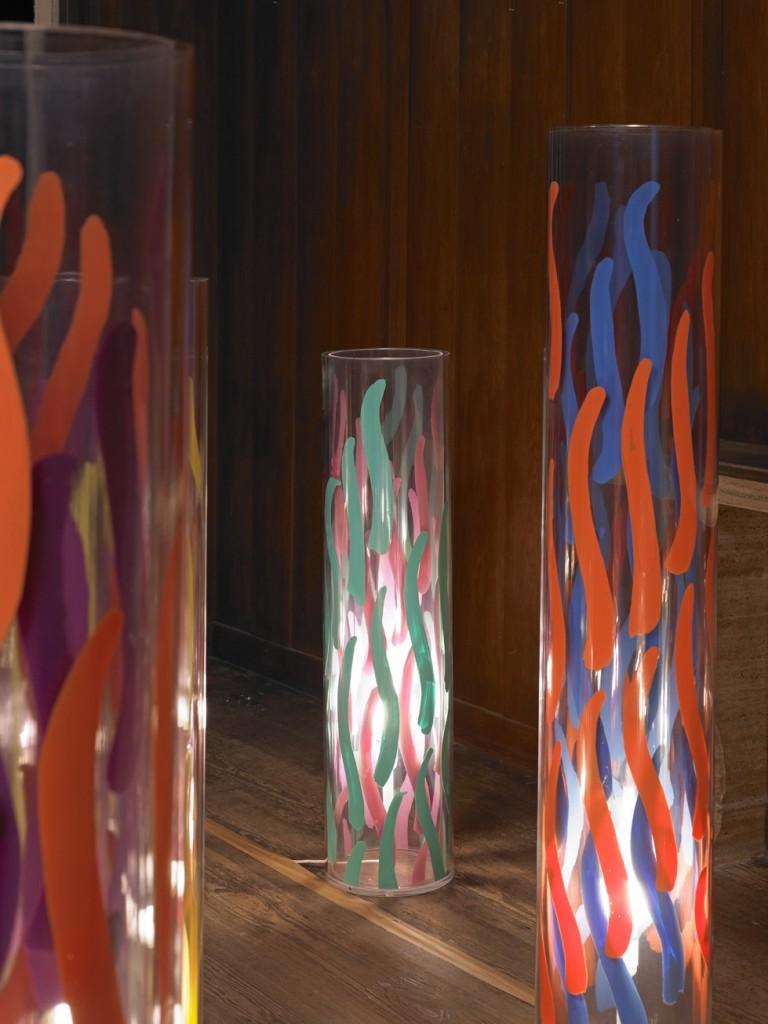 Carla Accardi, »Lampade«, 2010. Plexiglass and paint on plastic, dimensions variable. Unique.