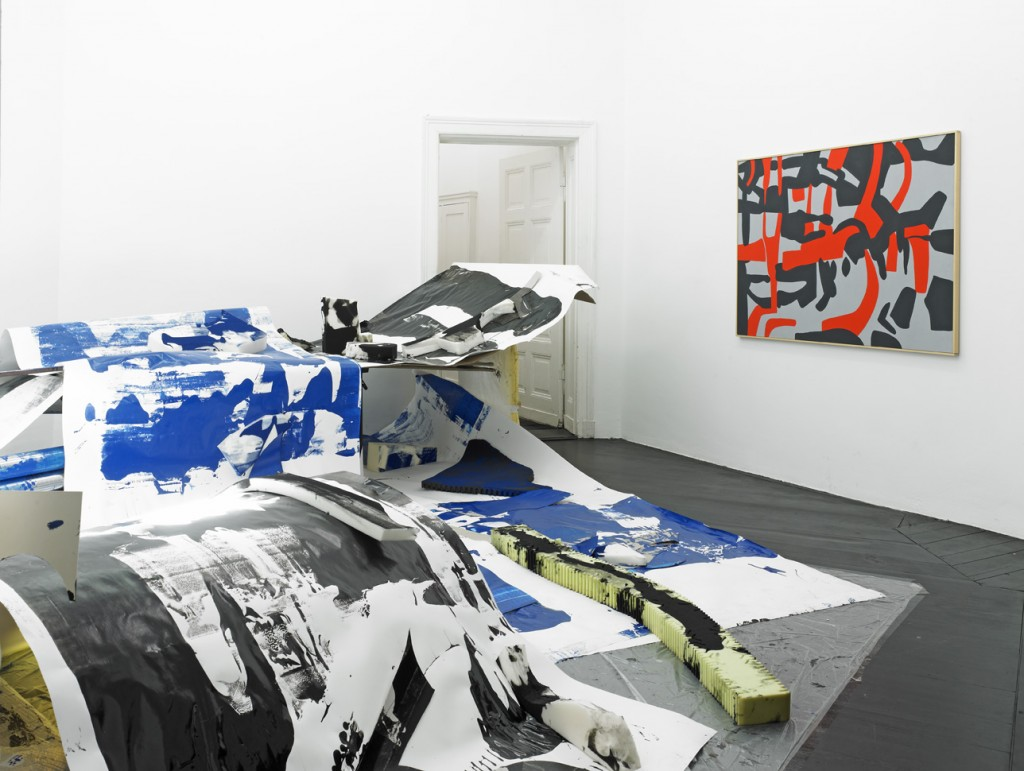 Installation view: »Hints and Gleams« Carla Accardi, Seth Price, Nora Schultz, Galerie Isabella Bortolozzi, Berlin, 06.03.12–07.04.12.