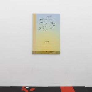 Seth Price, »Birds no«, 2004, inkjet on canvas, 106,5 x 73,5 x 2,5 cm. Unique.