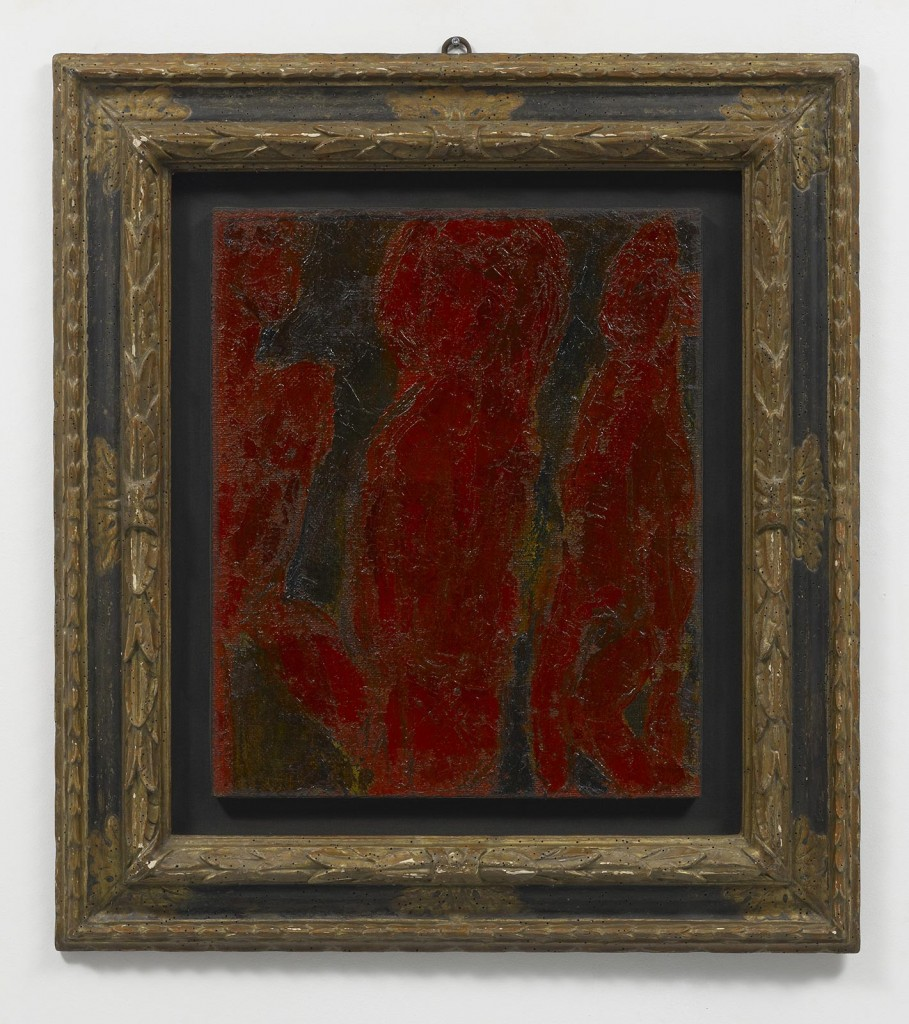 »Le parche rosse«, 1944. Oil on canvas. 61.5 x 50.5 x 2 cm. Framed : 93,7 x 84,3 x 7 cm. Unique.
