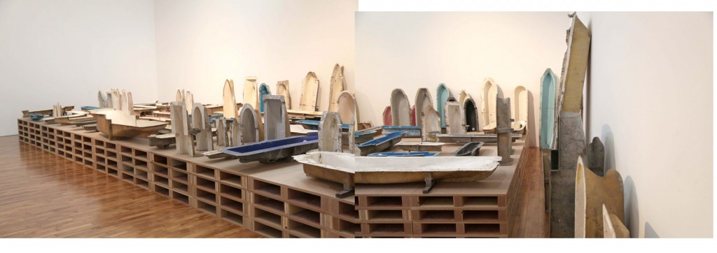 Installation view: Ibon Aranberri, »Extinction made a place vital«, 2011. Metal structures, glass, framed photographs, borrowed technical drawings. Unique. Un'Espressione Geografica,FondazioneSandretto Re Rebaudengo, Torino, 2011.