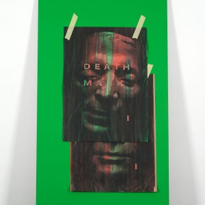 Ed Atkins, »A Very Short Introduction to Death Mask I«, 2010. 2 Parts (part 1/2). MDF, Chromakey Green Paint, Omnichrom Photocopies, Indian Ink, Masking Tape. Dimensions Variable.