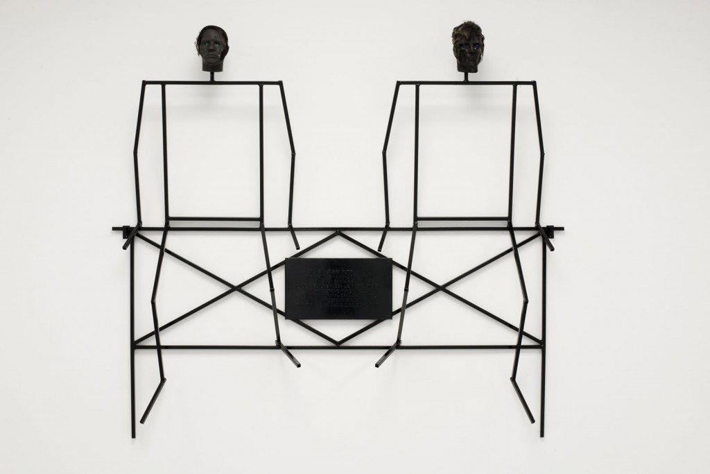 Jos de Gruyter & Harald Thys. »Ricco & Rocco«. 2010-2012. welded metal structure, paint, styrofoam. 235 x 223 x 40 cm. Unique