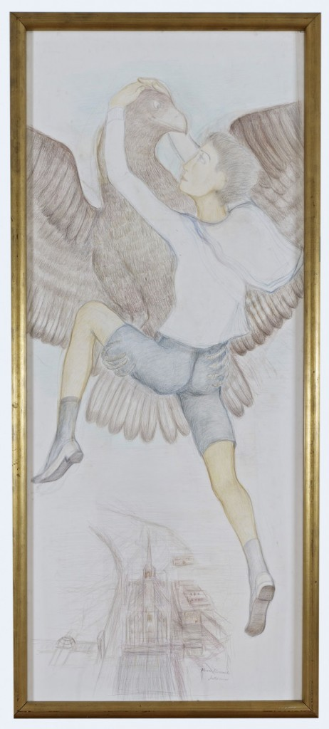 Pierre Klossowski.<i> Ganymède I</i> 1986. Colored pencil on paper. 195 x 85 cm. Unique.