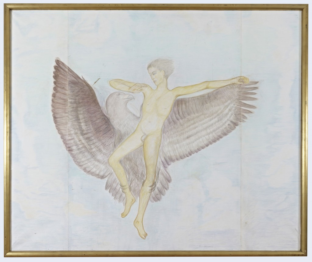 Pierre Klossowski.<i> Ganymède II.</i> 1986. Colored pencil on paper. 200 x 240 cm. Unique.