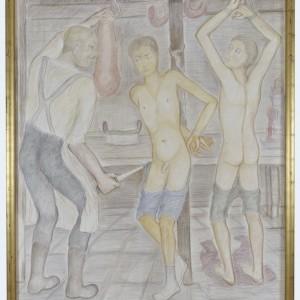Pierre Klossowski. Le boucher. 1986. Coloured pencil on paper. 180 x 145 cm. Unique.