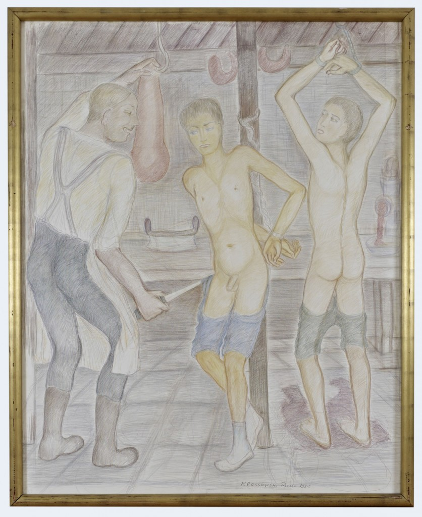 Pierre Klossowski. <i>Le boucher.</i> 1986. Coloured pencil on paper. 180 x 145 cm. Unique.