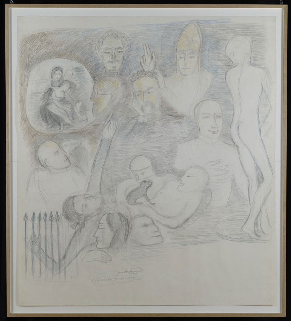 Pierre Klossowski. »Le grand renfermement, 2ème version.« 1988. Coloured pencil on paper. 169 x 150 cm. Unique.