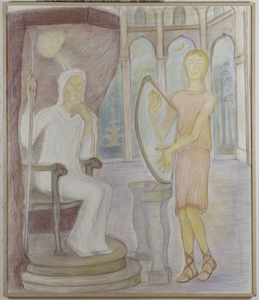 Pierre Klossowski. »Le jeune David jouant de la harpe devant le Roi Saul en proie à l'esprit malin.« 1988. Coloured pencil on paper. 175 x 150 cm. Unique.