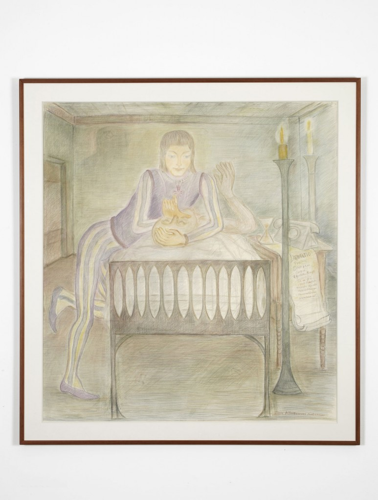 Pierre Klossowski. »Supreme vision de frere Damiens.« 1987. Coloured pencil on paper. 148 x 140 cm. Unique.