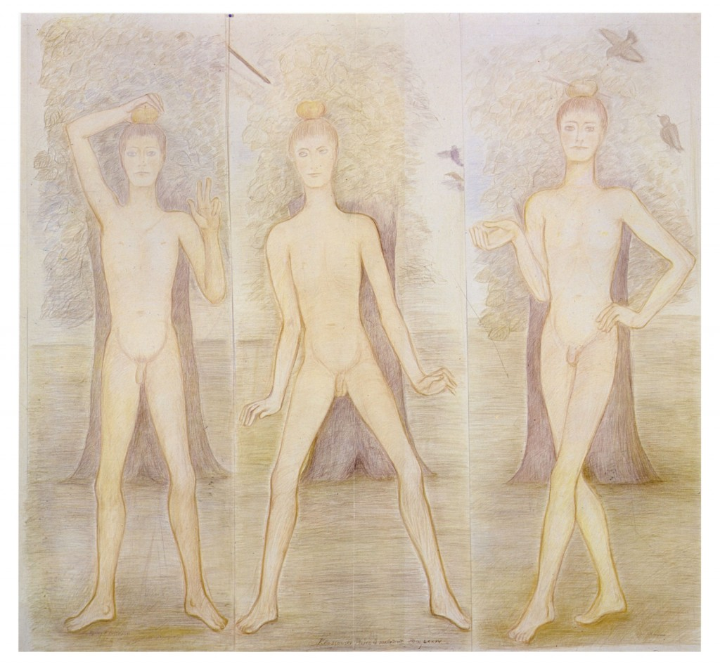 Pierre Klossowski. »Trois attitudes du fils de Guillaume Tell.« 1985. Coloured pencil on paper. 184 x 204 cm. Unique.