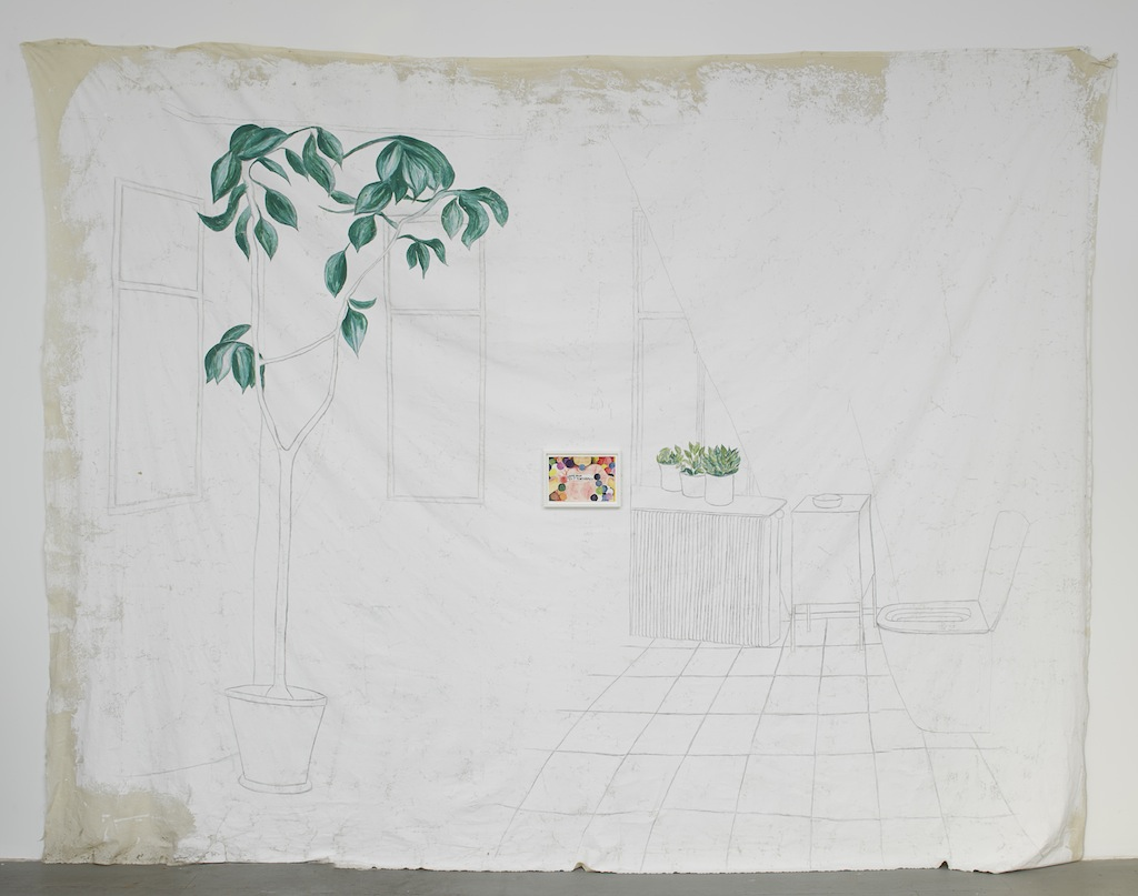 »Macho Man Tell It To My Heart«, 2014, Gouache on canvas, plant, Dimensions variable