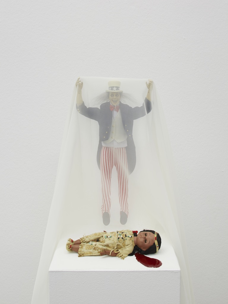 Danny McDonald, <i>This is What Happened</i>, 2015, Uncle Sam action figure, plastic leather vintage hair and doll beads, 39 x 22 x 22 cm