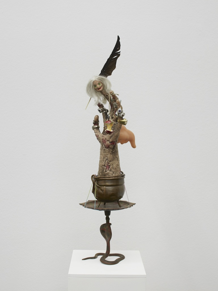 Danny McDonald, <i>Knowledge is Power</i>, 2015, animatronic hand (vinyl mechanism, rings, plastic witch's nose, disney witch, plastic apple core, brass bowl, painted brass cobra, 63 x 20 x 20 cm