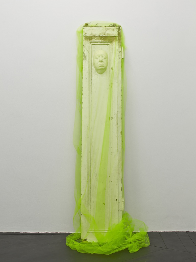 Danny McDonald, <i>Alfred in Tulle</i>, 2015, door, resin life cast of Alfred Hitchcock, tulle, 227 x 60 x 43 cm