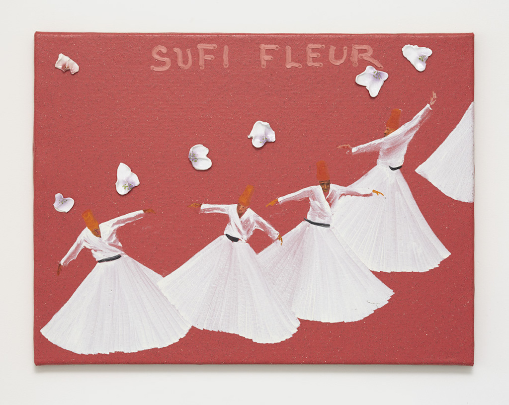 Aldo Mondino, »Sufi Fleur«, 2004, oil on linoleum and ceramic, 60 x 80 cm, unique