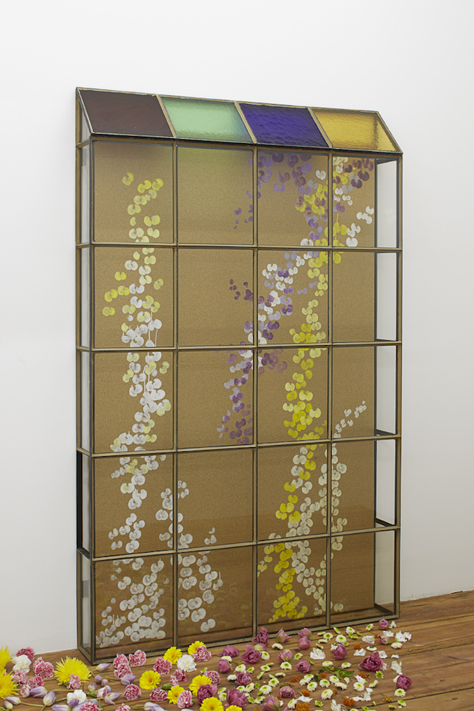 Aldo Mondino, »Serra«, 2004, oil on linoleum, glass and wrought iron, 198 x 130 x 165 cm, unique