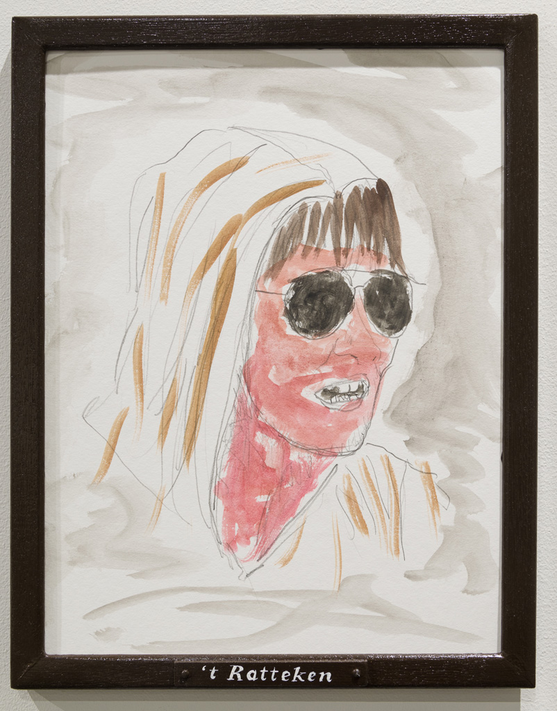 Jos de Gruyter & Harald Thys, »'t RATTEKEN«, 2015,<br>Pencil and water colour on off-white cardboard in wooden frame,<br>painted brown, 38 x 30, Unique