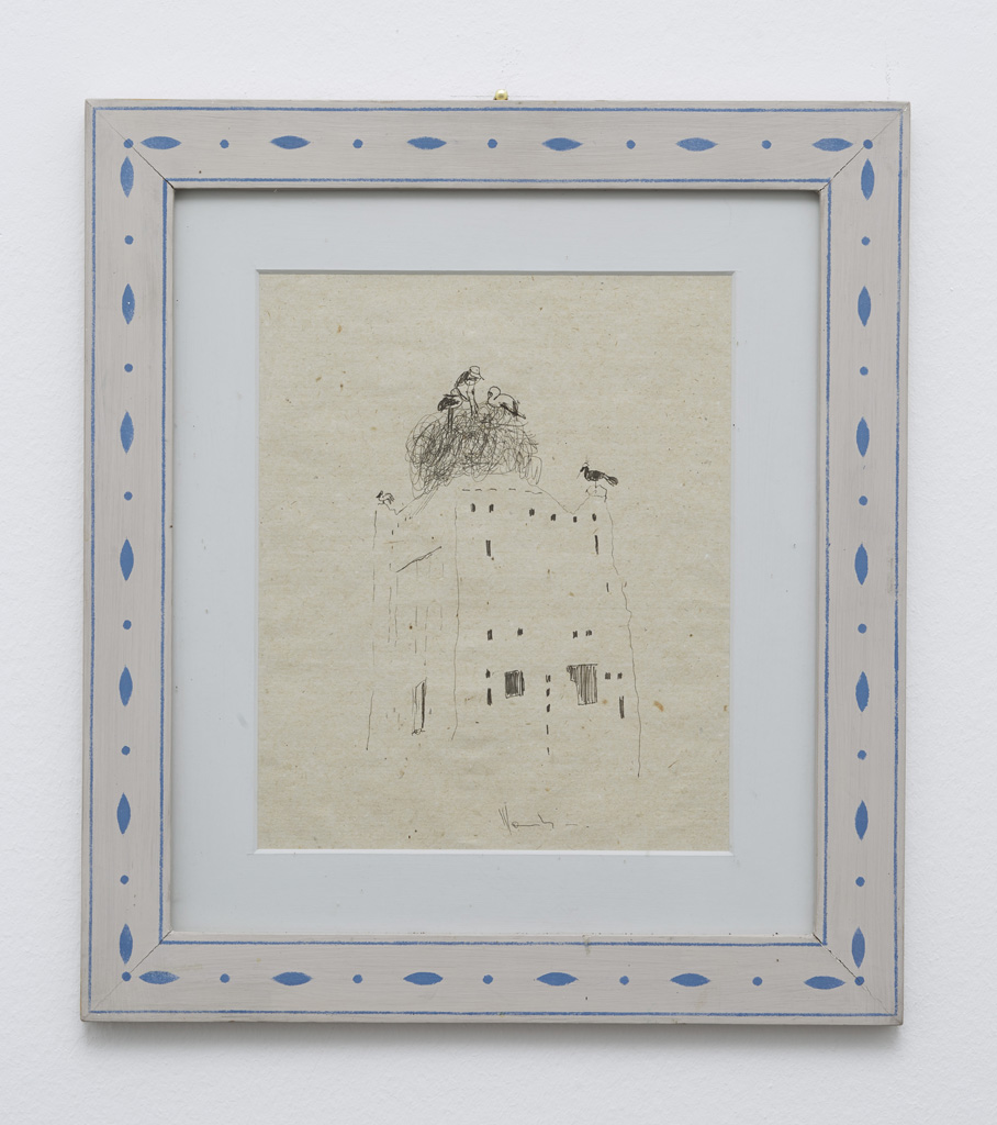 Aldo Mondino<br>»Set of 13 drawings« (detail), 1988<br>Drawing on paper<br>12 drawings each measuring 38.5 x 32 cm with frame<br>1 drawing measuring 42 x 37 cm<br>Unique