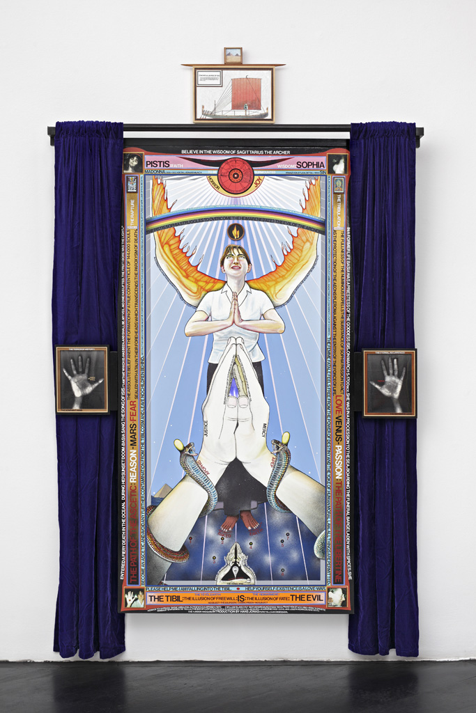 Paul Laffoley, »Pistis Sophia«, 2004-2006, oil and acrylic paint, vinyl letters, India ink, photo-collage on linen canvas, velvet drapes, Magic Mirror (two way mirror with electrical components), 104 x 59 x 6.5 cm, unique