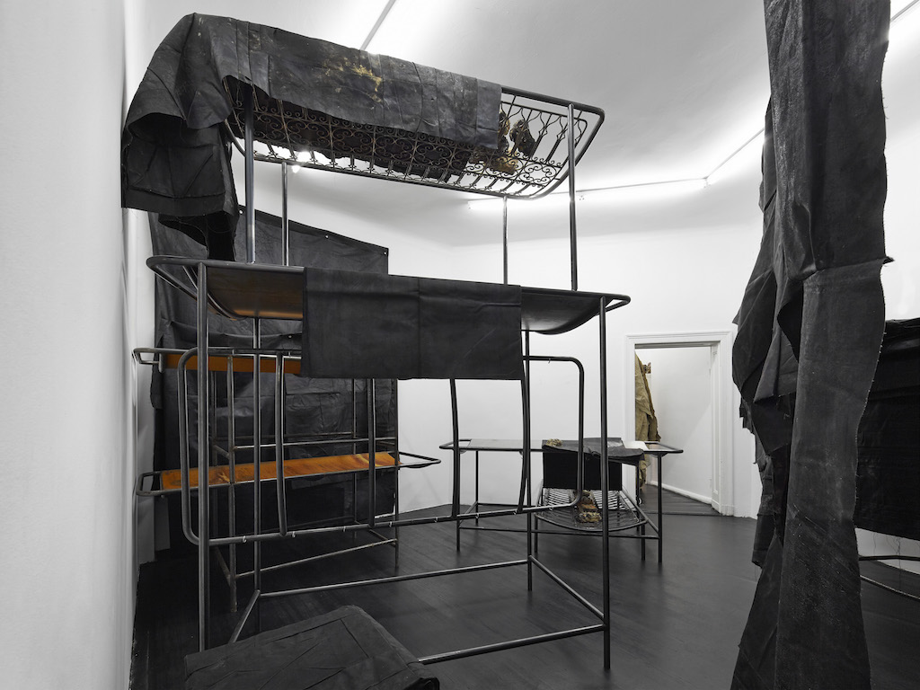 Oscar Murillo, 'Land with lost olive trees', installation view, 