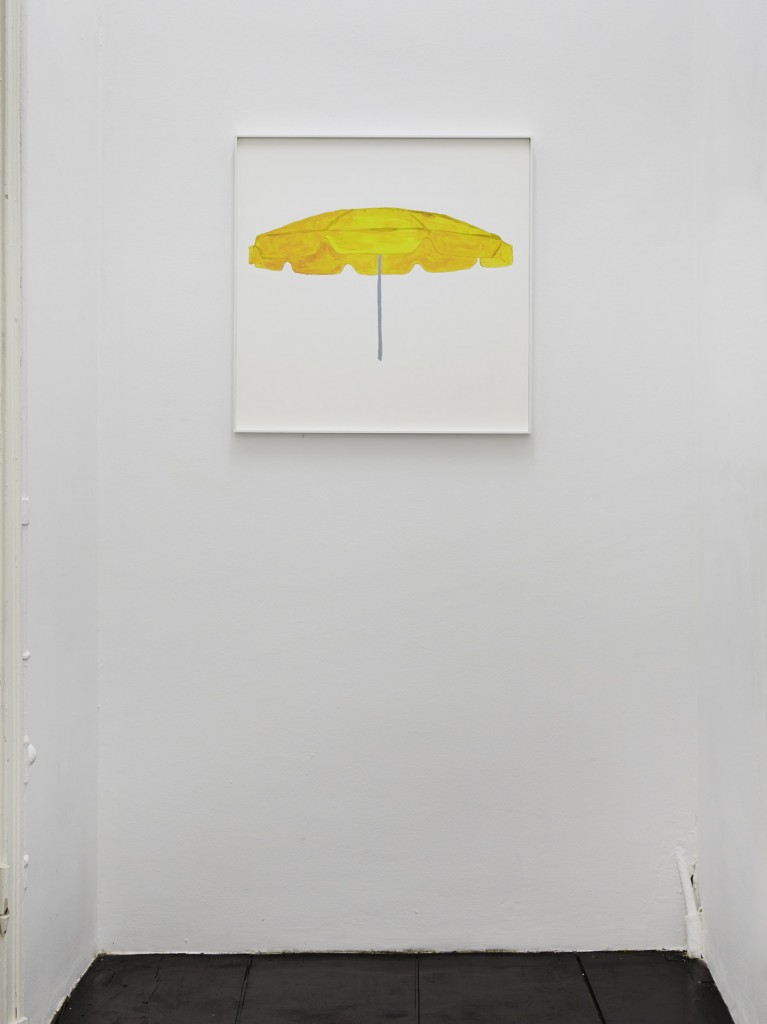 Jos de Gruyter & Harald Thys, »A Sunshade«, 2016, acrylic on card in hot rolled steel frame, 69 x 69 cm, unique