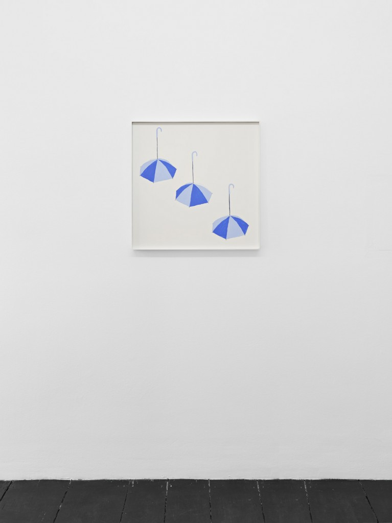 Jos de Gruyter & Harald Thys, »Three Blue Umbrellas«, 2016, acrylic on card in hot rolled steel frame, 69 x 69 cm, unique