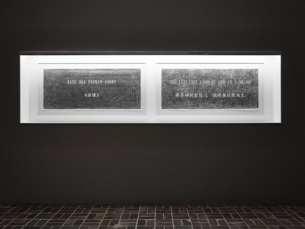 Installation view, '9th Berlin Biennale', KW Institute for Contemporary Art, Mistranslations - Luscious, 2016, stone rubbings on sekishu japanese paper, Photo: H Trumble