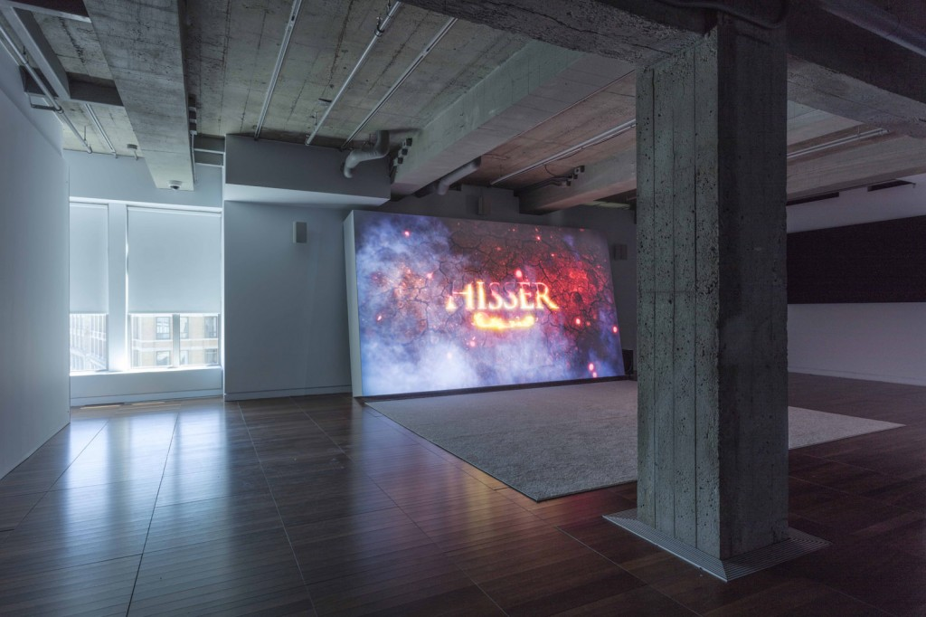Installation view, Ed Atkins: Modern Piano Music,at DHC/ART Foundation for Contemporary Art 20.04.17—03.09.172017, Ed Atkins, Hisser, HD video projection  2015,