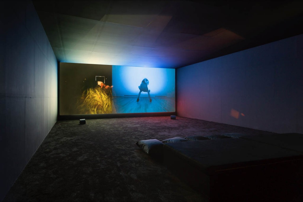 Wu Tsang, We hold where study, 2017, 2 channel video with sound, dimensions variable,18:56 min, Installation view, Paratoxic Paradoxes, Benaki Museum, Athens. photo: Υiorgis Yerolymbos