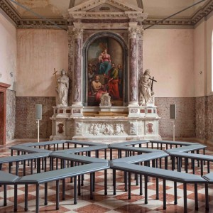 Installation view, James Richards, Music for the Gift, Wales in Venice, Santa Maria Ausiliatrice, 13.05.17 - 26.11.17