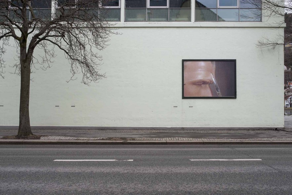 Exterior view of Bergen Kunsthall with print by James Richards