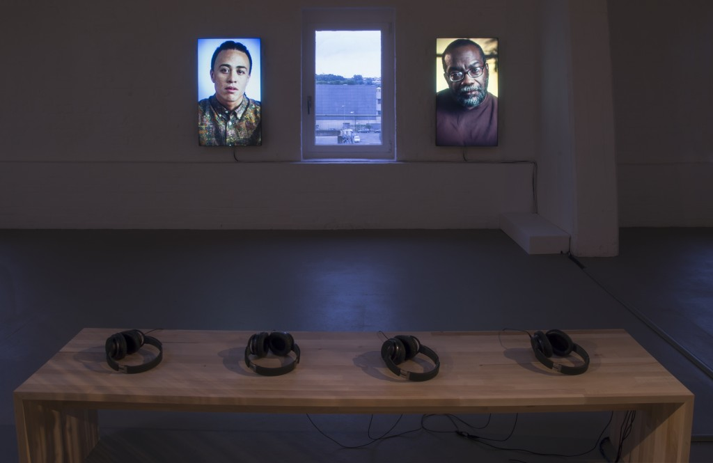 Installation view: Wu Tsang: Miss Communication and Mr:Re, 2-Channel Color HD Video, Stereo Sound, 17 Minutes, 2014 at Kunsthalle Münster, Devotional Document (Part 2) 27.05.17 - 01.10.17