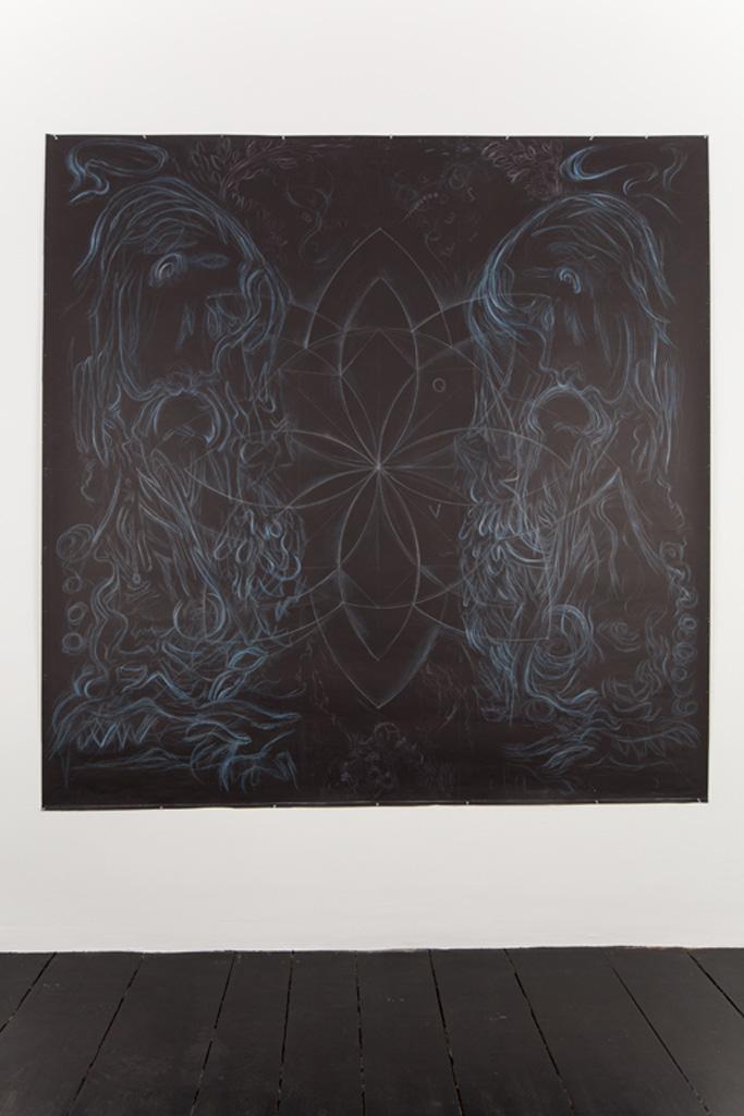 My Light Blue Chanel Handbag Dream, 2007, Mixed media on paper, 243 x 243 cm