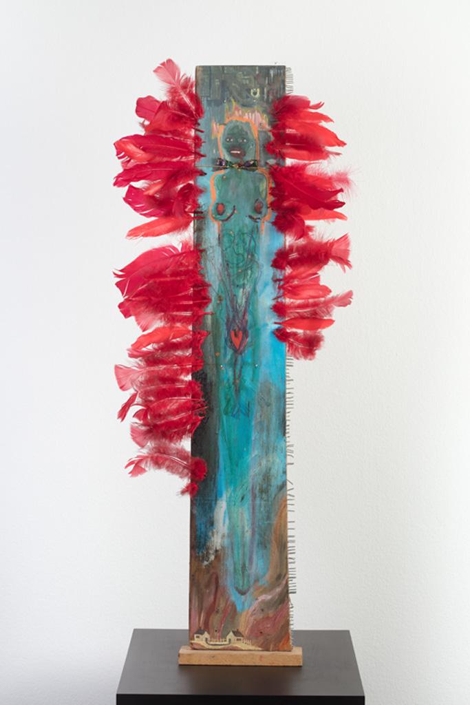 Female Icon (4), ca. 1990, Oil on wood, glitter, mixed media, 104.14 x 38.1 x 5.08 cm