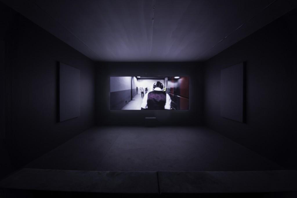 Installation view, Yuri Ancarani, Sculture, Kunsthalle Basel, 2018 Work: San Siro, 2014