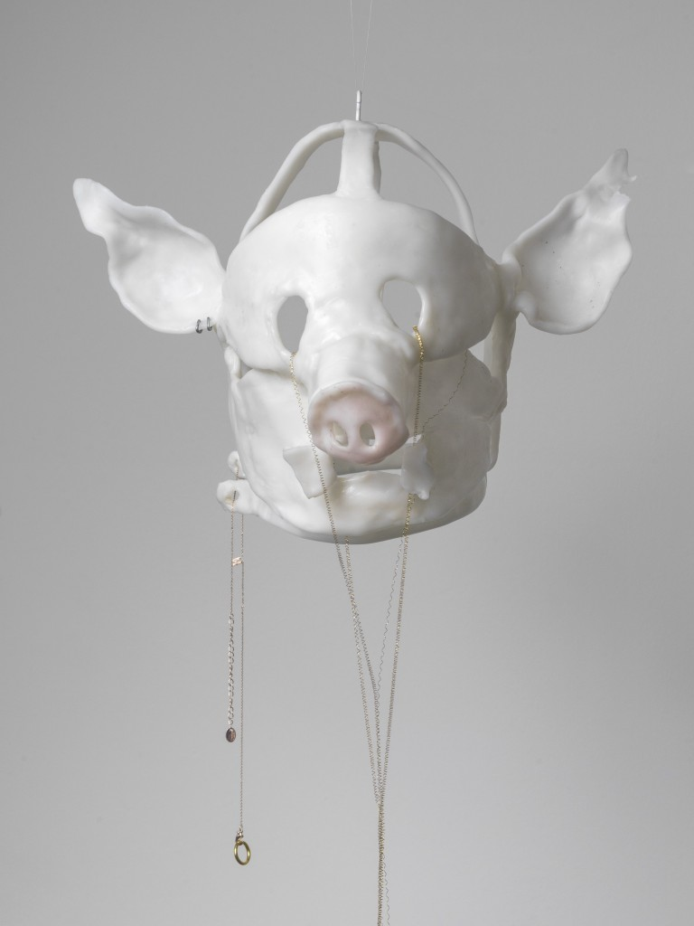 Hannah Black, Shame Mask 3, 2018, Moldable plastic, jewellery, metal thread, approx. 27 x 24 x 25 cm, Unique
