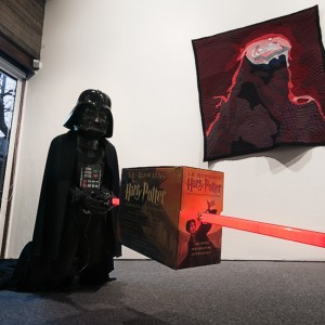 Installation view: Danny McDonald, »Science Fiction vs Fantasy (Darth Vader & Harry Potter)«, 2010. »Take me to your leader: the great escape into space«, Bergen Kunstmuseum, Bergen, 25.02.11—08.05.11.