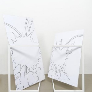 Nora Schultz, »Toc / Toc Kopie«, 2007. Two white varnished steel structures, cardboards and paper collages, 65 x 55 x 92 cm and 65 x 55 x 127 cm.