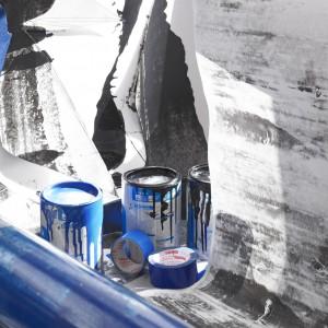 Nora Schultz in collaboration with Manuel Raeder, »Ein Traum: Die selbstgebaute Druck-Maschine arbeitet endlich«, 2012. Printing machine, paper prints, foam, dimensions variable. Unique. (Detail).