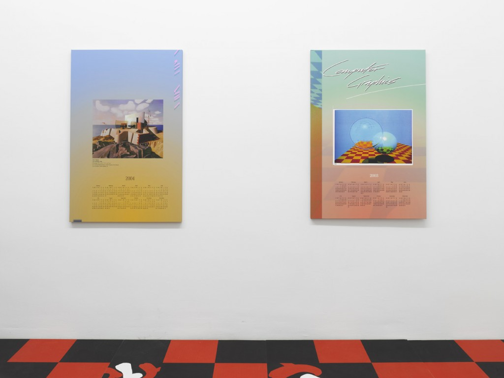 Seth Price, »Coast. Fort.«, 2004, inkjet on canvas, 119 x 81 x 3,5 cm. Unique. Seth Price, »Comp. Graphics«, 2003, inkjet on canvas, 119 x 81 x 3,5 cm. Unique. (from left to right).)