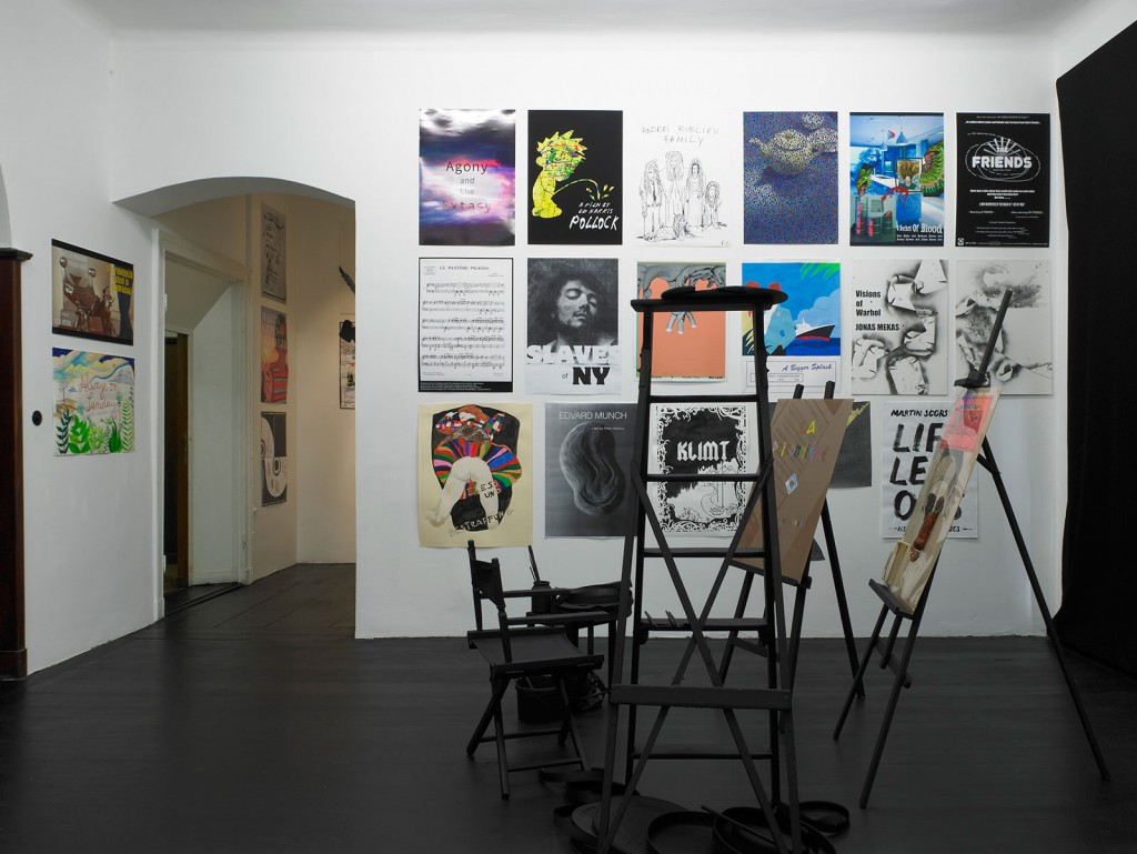 Installation view: Celluloid Brushes. An Anthology of the filmic perception of the artist from 1267 till today. A project by Etablissement d'en face, Brussels, Galerie Isabella Bortolozzi, Berlin, 29.06.2012–30.07.2012.
