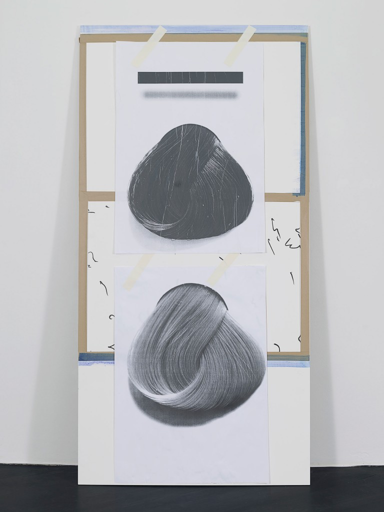 »Untitled (8)«, 2013. Collage on wood and steel. Each 243.8 x 121,4 x 1,9 cm. Unique.