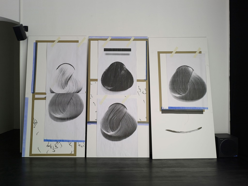 »Untitled 1-9«, 2013. Collage on wood and steel. Each 214 x 121,4 x 1,9 cm. Unique.