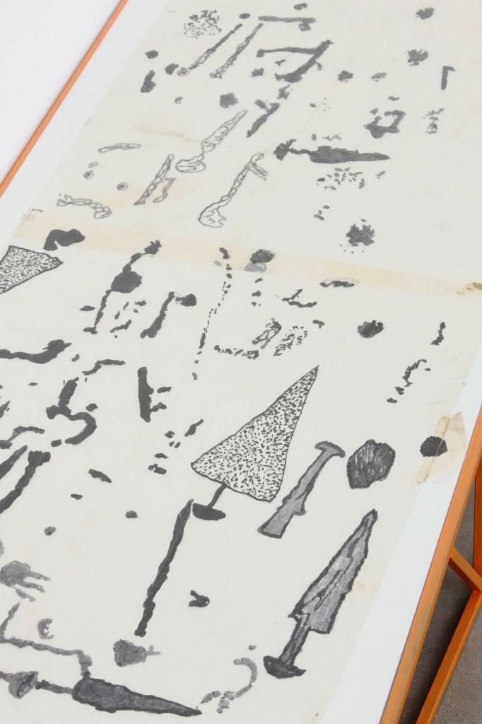 Installation view: Ibon Aranberri, »Extinctionmade a place vital (detail)«, 2011. Metal structures, glass, framed photographs, borrowed technical drawings. Unique. Un'Espressione Geografica,FondazioneSandretto Re Rebaudengo, Torino, 2011.