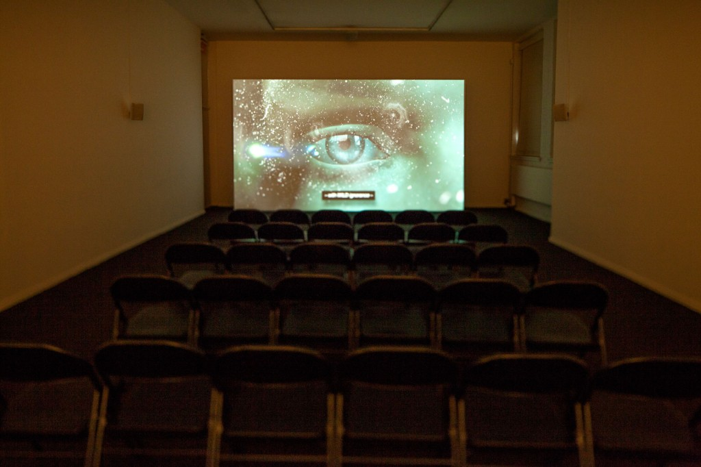 Installation view: Ed Atkins, »Warm, Warm, Warm Spring Mouths«, 2013. HD video with 5.1 surround sound. Duration 12:50 min. MoMA PS1, New York, 20.01.13—01.04.13.