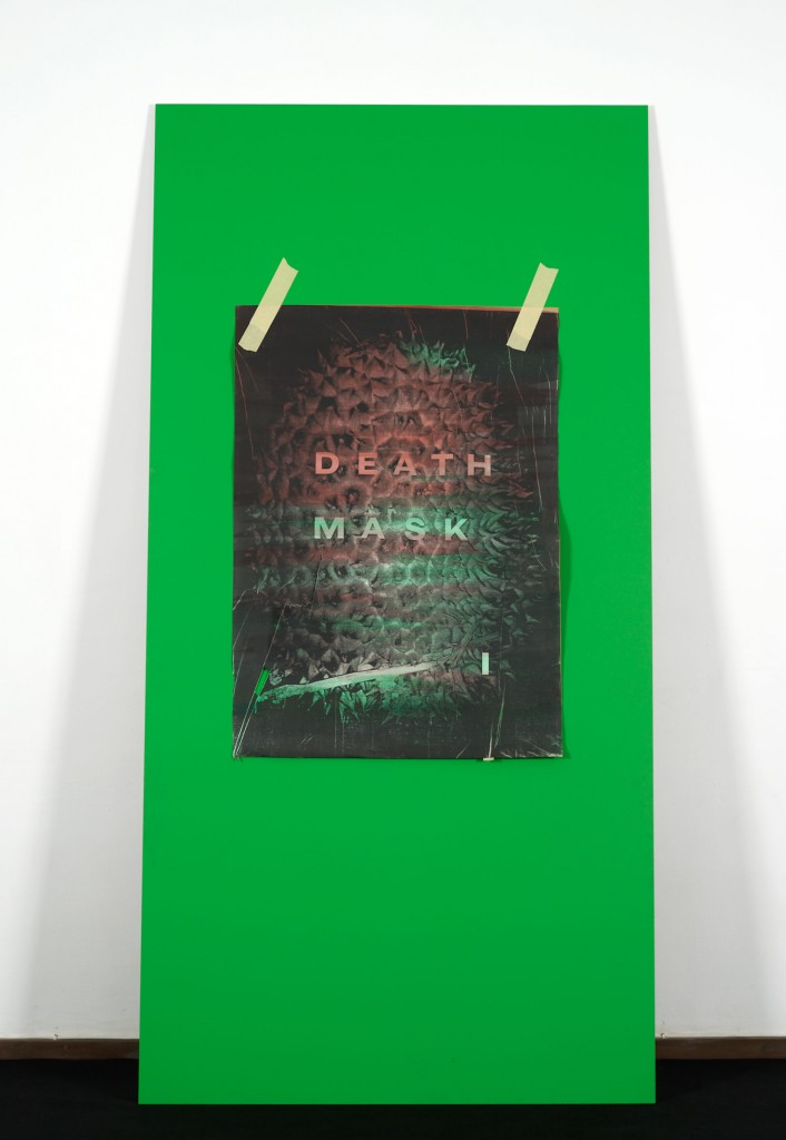 Ed Atkins, »A Very Short Introduction to Death Mask I«, 2010. 2 Parts (part 2/2). MDF, Chromakey Green Paint, Omnichrom Photocopies, Indian Ink, Masking Tape. Dimensions Variable.