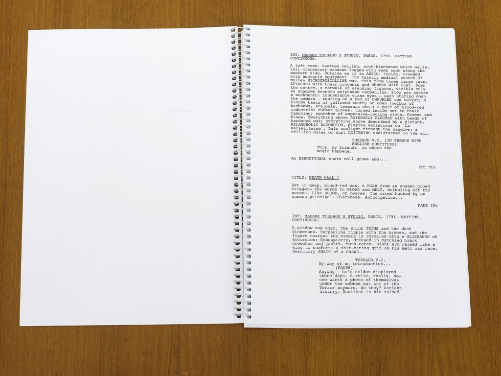 Ed Atkins, »Death Mask I + II«, 2011. Spiral Bound Screenplay. A4, 80pp. spiral bound.